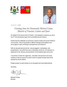 Letter from Hon. Michael Coteau