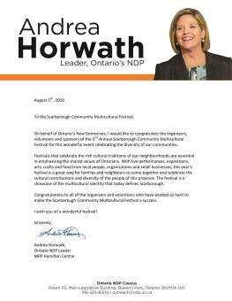 Letter from Andrea Horwath