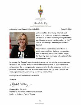 Letter from Elizabeth May