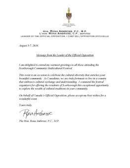 Letter from Hon. Rona Ambrose
